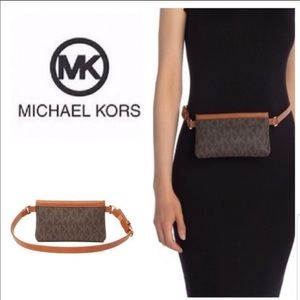 Michael Kors Logo Brown Fanny Pack Belt Large